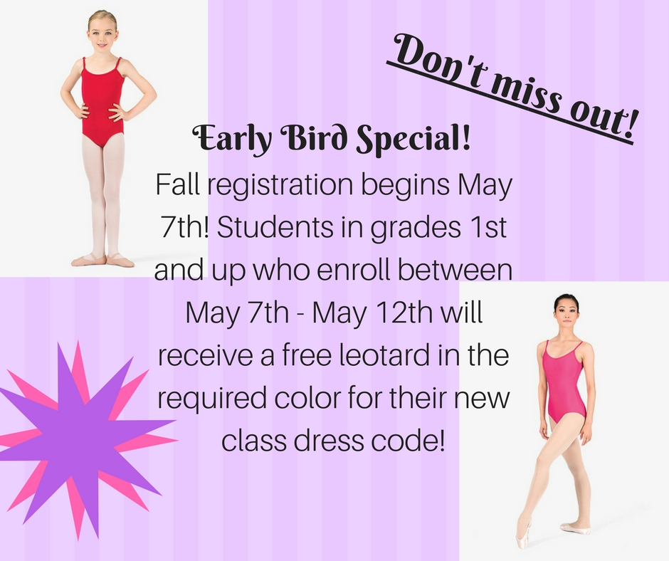 Students in grades 1 and up who enroll this week will recieve a free leotard in the required color for their new class dress code.